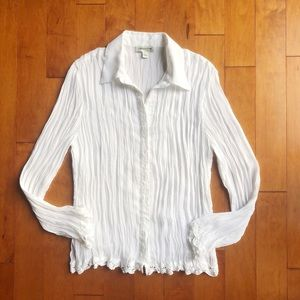 Coldwater Creek White Blouse Button-Down Crinkles